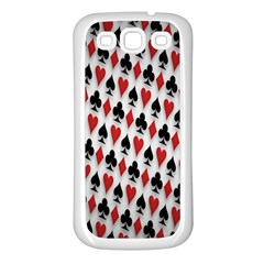 Suit Spades Hearts Clubs Diamonds Background Texture Samsung Galaxy S3 Back Case (White)
