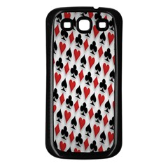Suit Spades Hearts Clubs Diamonds Background Texture Samsung Galaxy S3 Back Case (Black)