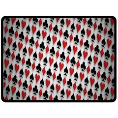Suit Spades Hearts Clubs Diamonds Background Texture Double Sided Fleece Blanket (Large)