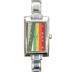 Texture Stripes Lines Color Bright Rectangle Italian Charm Watch