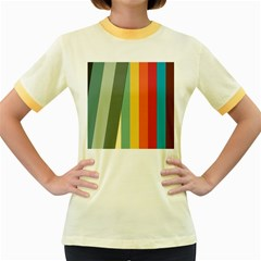 Texture Stripes Lines Color Bright Women s Fitted Ringer T-Shirts