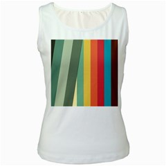 Texture Stripes Lines Color Bright Women s White Tank Top