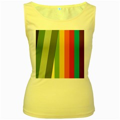 Texture Stripes Lines Color Bright Women s Yellow Tank Top