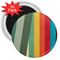 Texture Stripes Lines Color Bright 3  Magnets (10 pack)