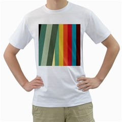 Texture Stripes Lines Color Bright Men s T Shirt (white) (two Sided)