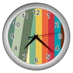 Texture Stripes Lines Color Bright Wall Clocks (Silver)