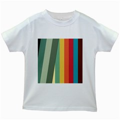 Texture Stripes Lines Color Bright Kids White T-Shirts