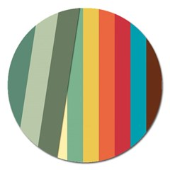 Texture Stripes Lines Color Bright Magnet 5  (Round)