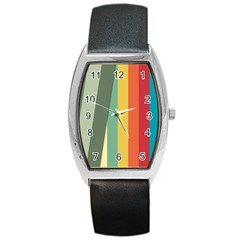 Texture Stripes Lines Color Bright Barrel Style Metal Watch