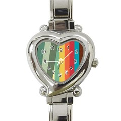 Texture Stripes Lines Color Bright Heart Italian Charm Watch