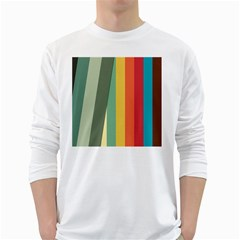 Texture Stripes Lines Color Bright White Long Sleeve T-Shirts