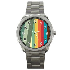 Texture Stripes Lines Color Bright Sport Metal Watch