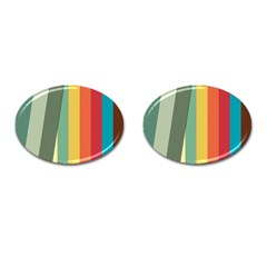 Texture Stripes Lines Color Bright Cufflinks (oval)