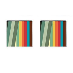 Texture Stripes Lines Color Bright Cufflinks (Square)