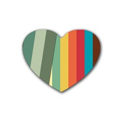 Texture Stripes Lines Color Bright Rubber Coaster (heart)