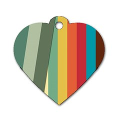 Texture Stripes Lines Color Bright Dog Tag Heart (two Sides)