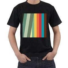 Texture Stripes Lines Color Bright Men s T Shirt (black)
