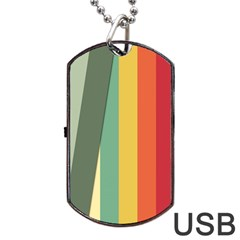 Texture Stripes Lines Color Bright Dog Tag USB Flash (One Side)