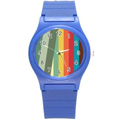 Texture Stripes Lines Color Bright Round Plastic Sport Watch (s)
