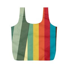 Texture Stripes Lines Color Bright Full Print Recycle Bags (M)