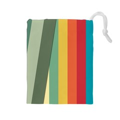 Texture Stripes Lines Color Bright Drawstring Pouches (large)
