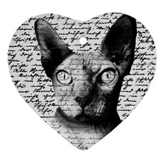 Sphynx cat Heart Ornament (Two Sides)