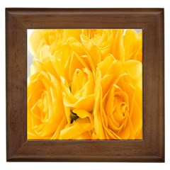 Yellow Neon Flowers Framed Tiles