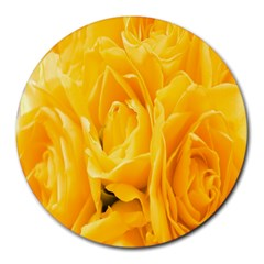 Yellow Neon Flowers Round Mousepads
