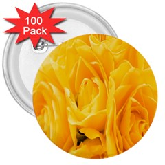 Yellow Neon Flowers 3  Buttons (100 Pack)