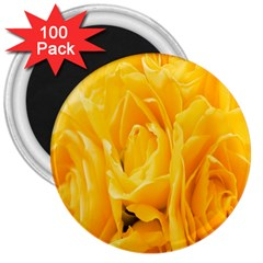 Yellow Neon Flowers 3  Magnets (100 pack)