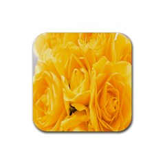 Yellow Neon Flowers Rubber Square Coaster (4 Pack)