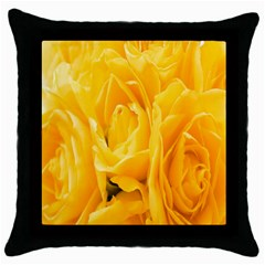 Yellow Neon Flowers Throw Pillow Case (Black)