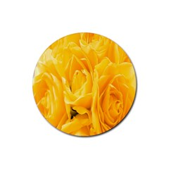 Yellow Neon Flowers Rubber Round Coaster (4 pack)