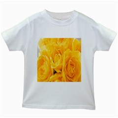 Yellow Neon Flowers Kids White T-Shirts
