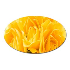 Yellow Neon Flowers Oval Magnet
