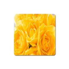 Yellow Neon Flowers Square Magnet
