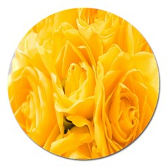 Yellow Neon Flowers Magnet 5  (round)