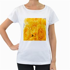 Yellow Neon Flowers Women s Loose-Fit T-Shirt (White)