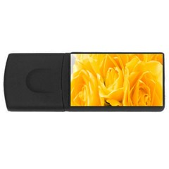 Yellow Neon Flowers USB Flash Drive Rectangular (4 GB)