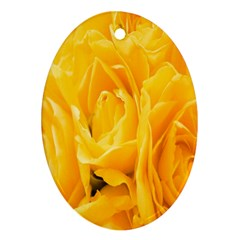 Yellow Neon Flowers Oval Ornament (Two Sides)