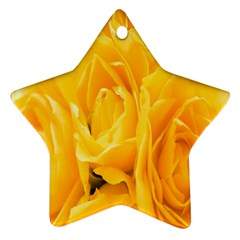 Yellow Neon Flowers Star Ornament (two Sides)