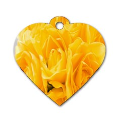Yellow Neon Flowers Dog Tag Heart (Two Sides)