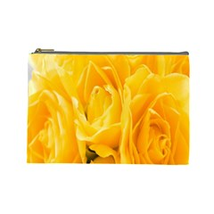 Yellow Neon Flowers Cosmetic Bag (large)