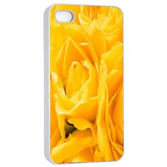 Yellow Neon Flowers Apple iPhone 4/4s Seamless Case (White)