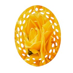 Yellow Neon Flowers Oval Filigree Ornament (Two Sides)