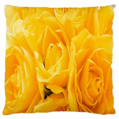 Yellow Neon Flowers Large Cushion Case (Two Sides)