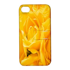 Yellow Neon Flowers Apple iPhone 4/4S Hardshell Case with Stand
