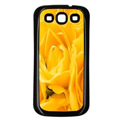 Yellow Neon Flowers Samsung Galaxy S3 Back Case (Black)