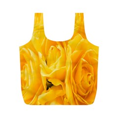 Yellow Neon Flowers Full Print Recycle Bags (M)