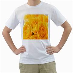 Yellow Neon Flowers Men s T-Shirt (White)